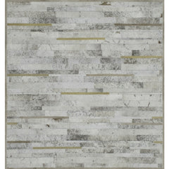 Yerra Horizontal Stripes Custom Cowhide Milk White, Cappuccino, Nutmeg, with Gold Accents