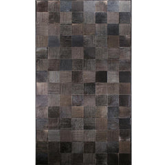 Loom Laser Engraved Handstitched cowhide rug in taupe and stone grey