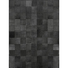 Loom Laser Engraved Handstitched Cowhide Rug in Iron Grey and Silver