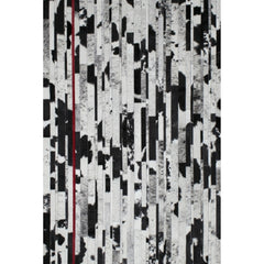 Yerra Vertical Stripes Custom Cowhide Black and White Holstein, Red Detail