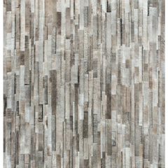 Yerra Vertical Stripes Custom Cowhide Taupe, Milk White, and Stone Grey