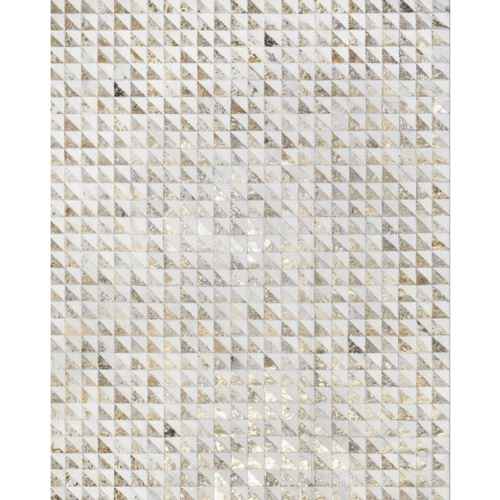 Triangles Patchwork Cowhide Rug Milk and Gold Metallic