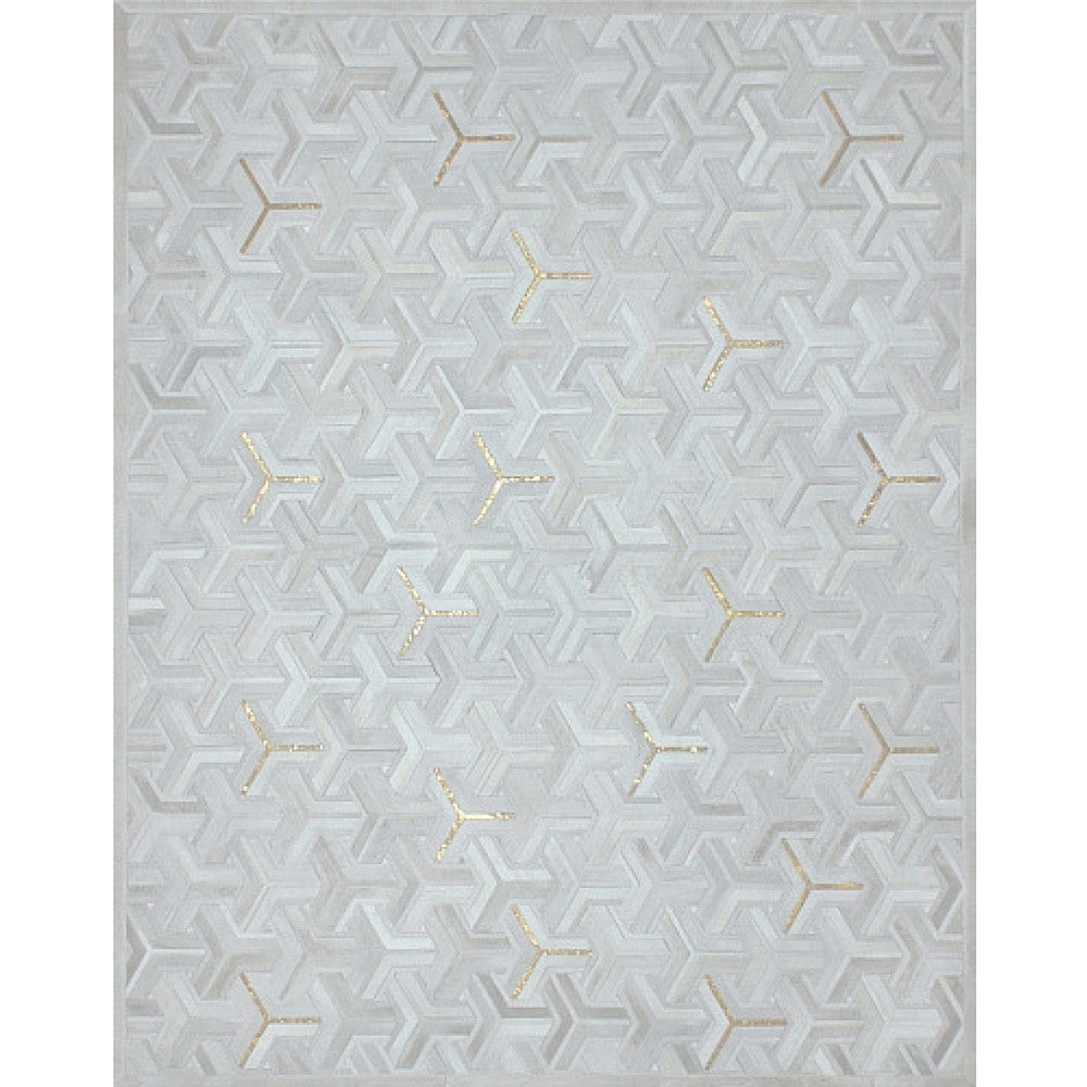 Yerra Y Rug Milk with Metallic Gold Handstitched Cowhide