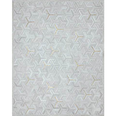 Y Rug Milk with Metallic Gold Handstitched Cowhide