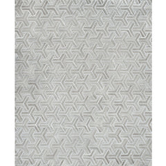 Y Rug Milk White and Stone Grey Handstitched Cowhide