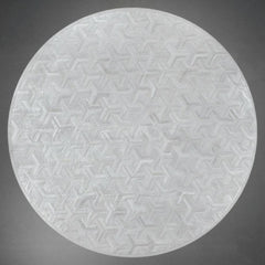 Y Pattern Circular Cowhide Rug in Milk White