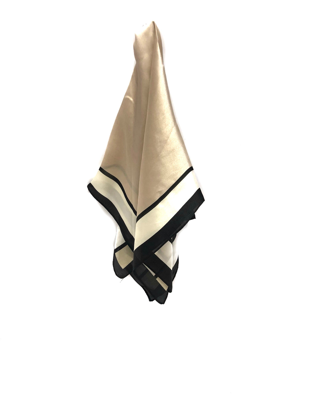 PINKPINEAPPLE BEIGE AND BLACK SILK SCARF (4921344786503)