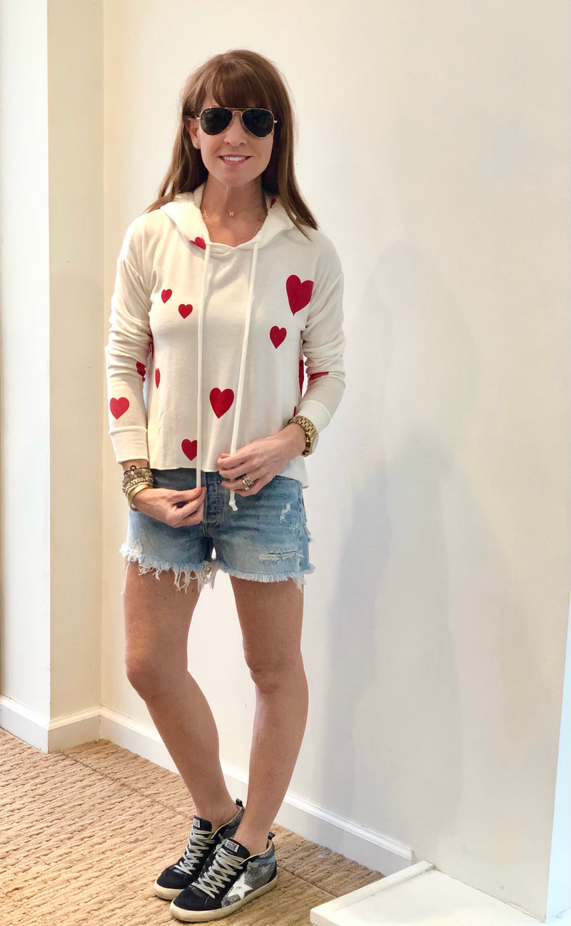 CHASER COZY KNIT HEART CROP HOODIE (4959235735623)