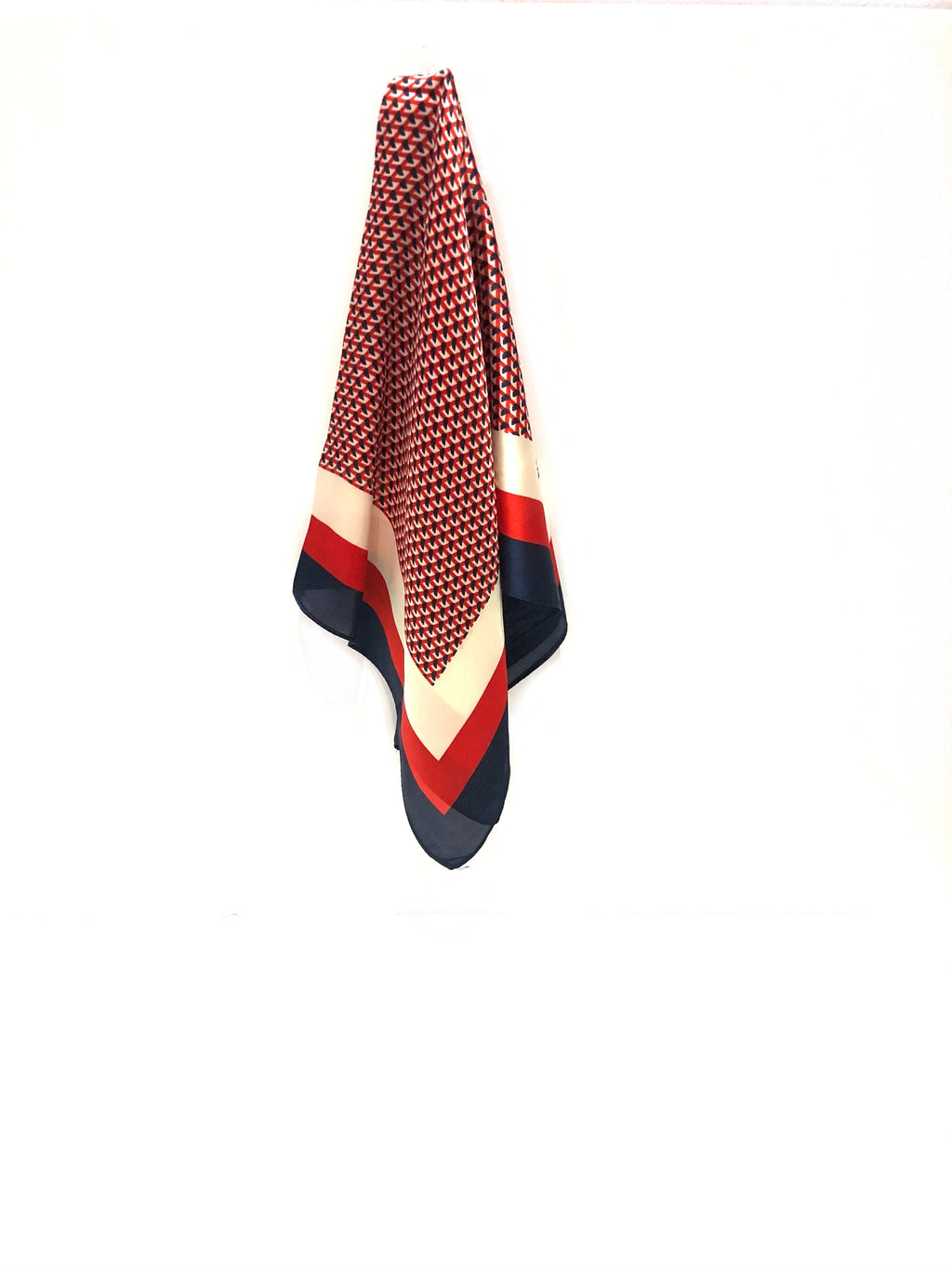 PINKPINEAPPLE RED AND NAVY SILK SCARF (4921345507399)