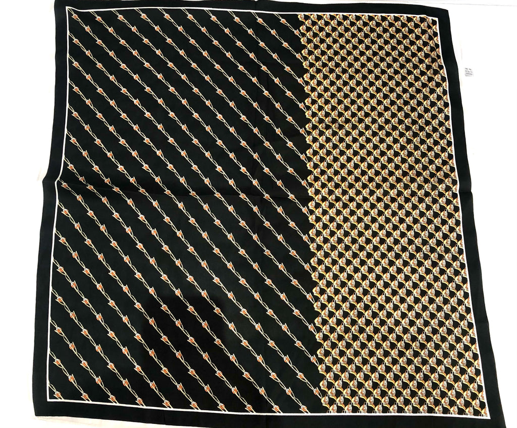PINKPINEAPPLE BLACK AND BROWN SILK SCARF (4921345572935)