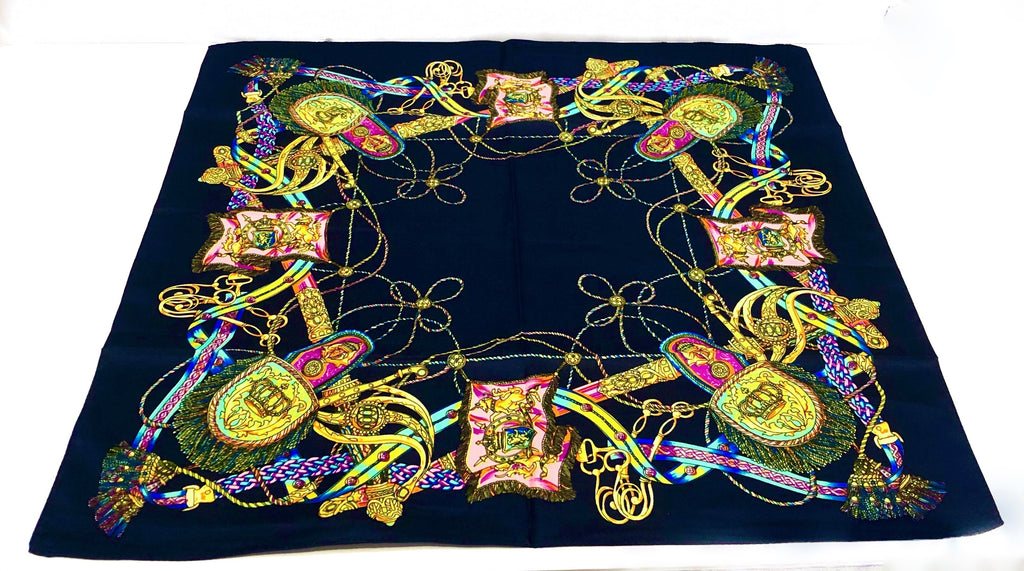 PINKPINEAPPLE NAVY AND YELLOW SILK SCARF (4921345245255)