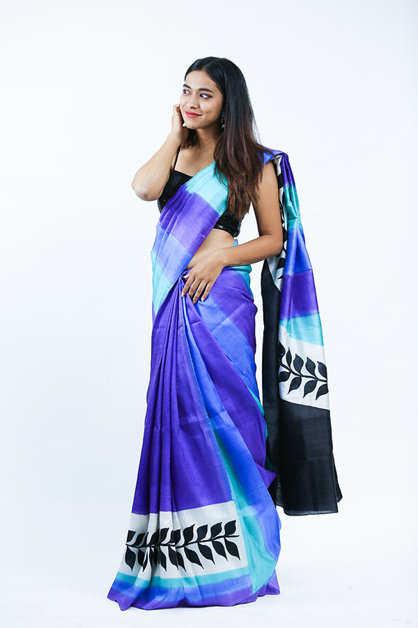 Purple Hand Painted Silk Saree