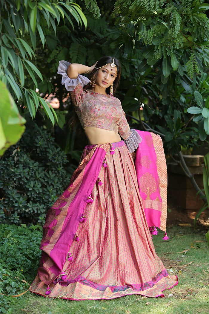 Grey and Pink Banaras Lehenga