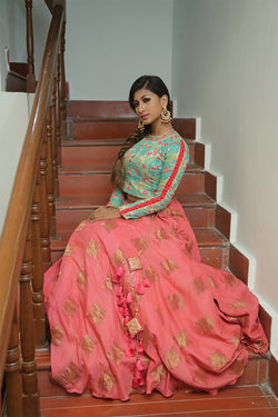 Peach Lehenga with Green Blouse