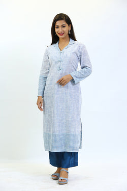 Cream Cotton Kurta with Blue Stripes