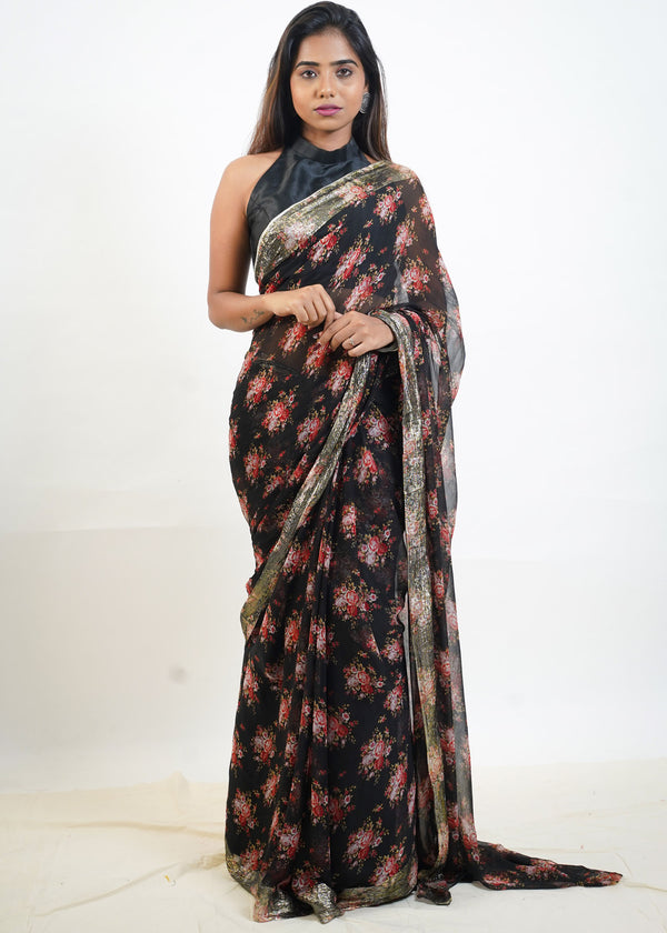 Black Printed Chiffon Saree