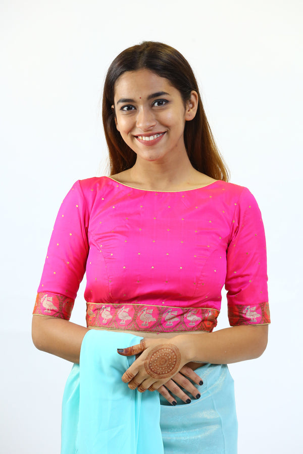 Pink Silk Brocade Blouse