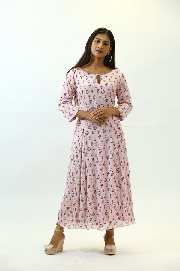 Pink Printed Georgette Dress