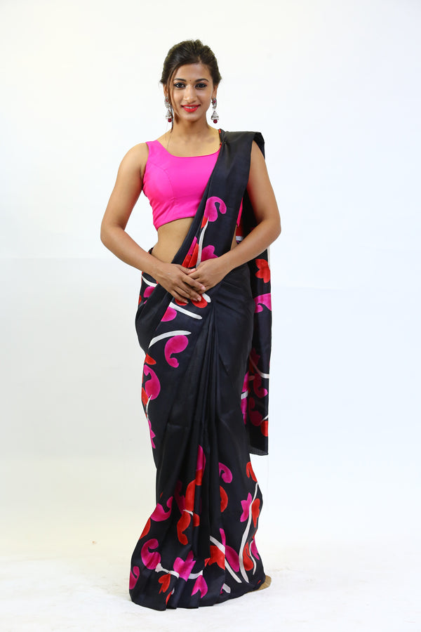 Black Hand painted silk saree