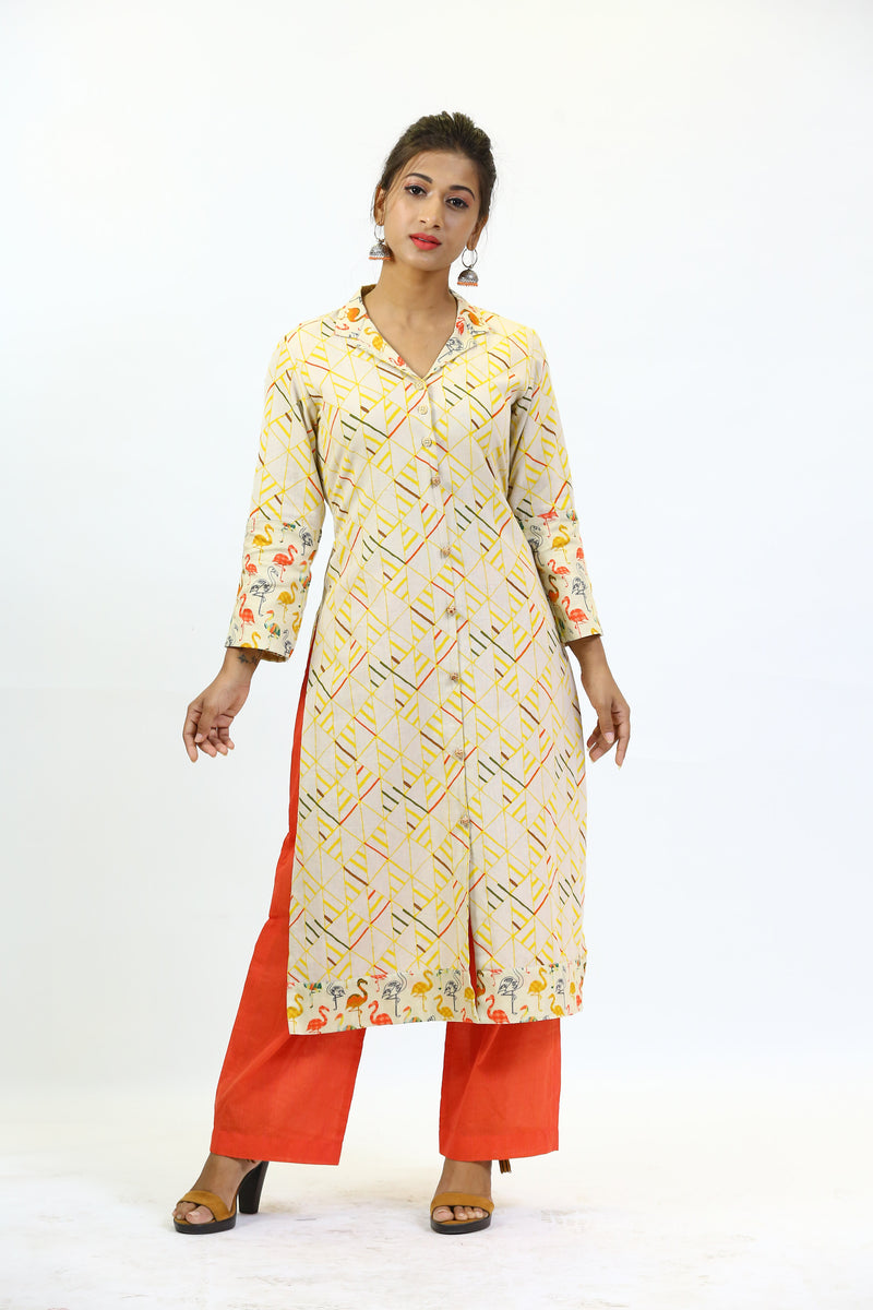 Beige Cotton Abstract Print Tunic