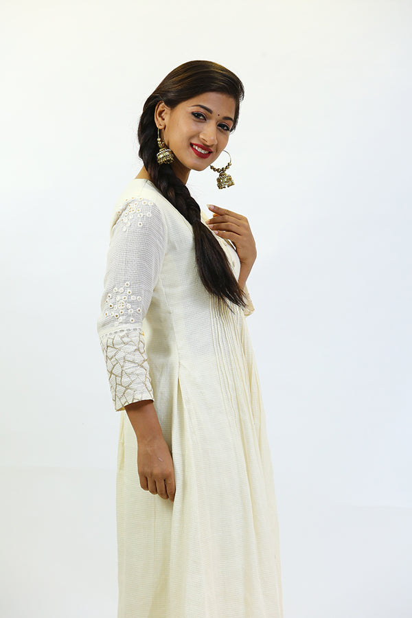 Cream Dress/Kurta with Gotha Border