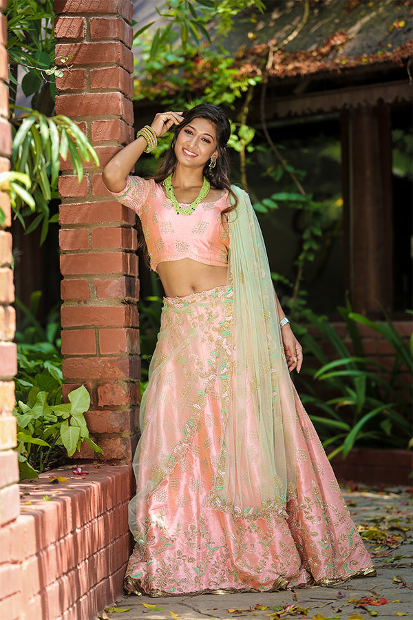 Peach lehenga with lt green dupatta