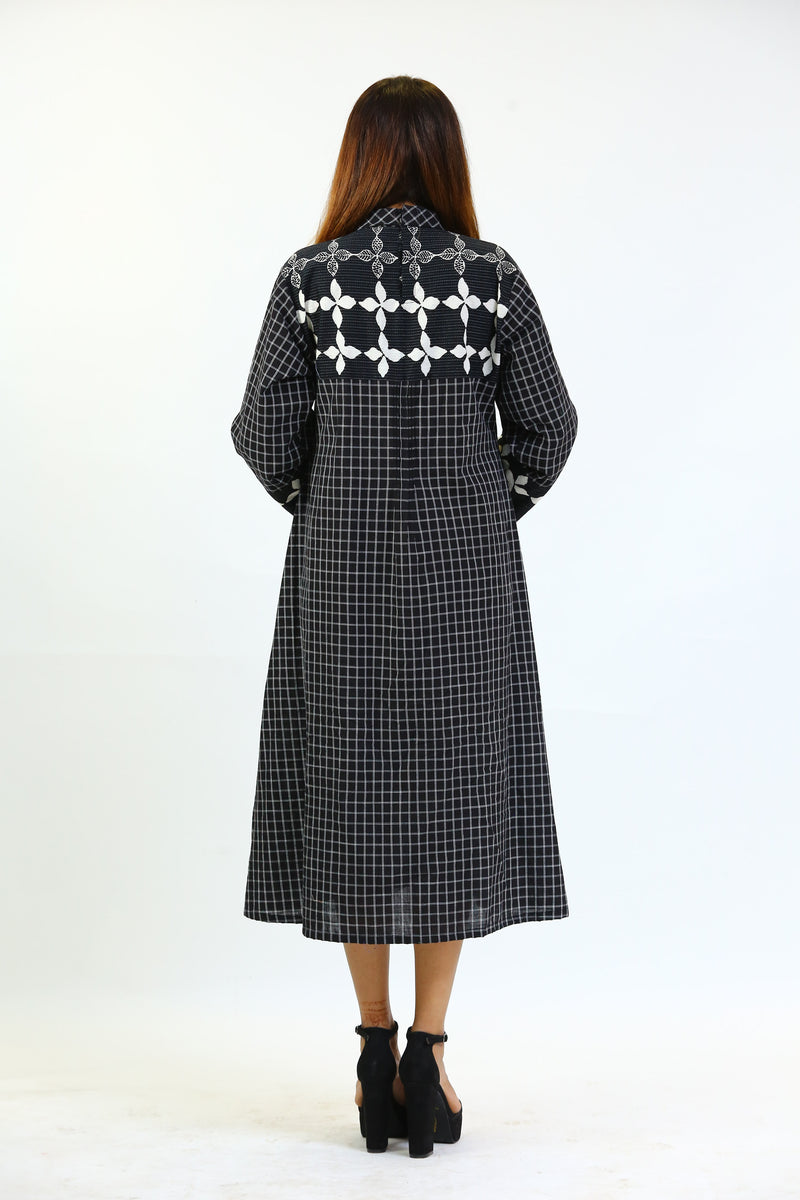Black Checked Cotton Kurti