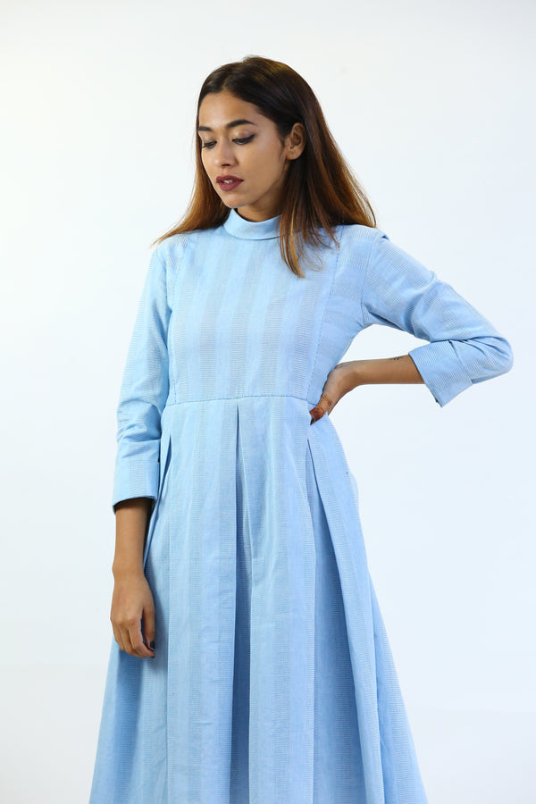Blue Box Pleated Pollo Collar Dress/Tunic