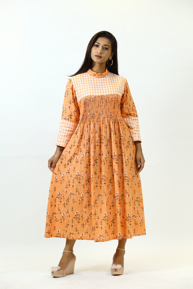 Orange Pleated Tunic