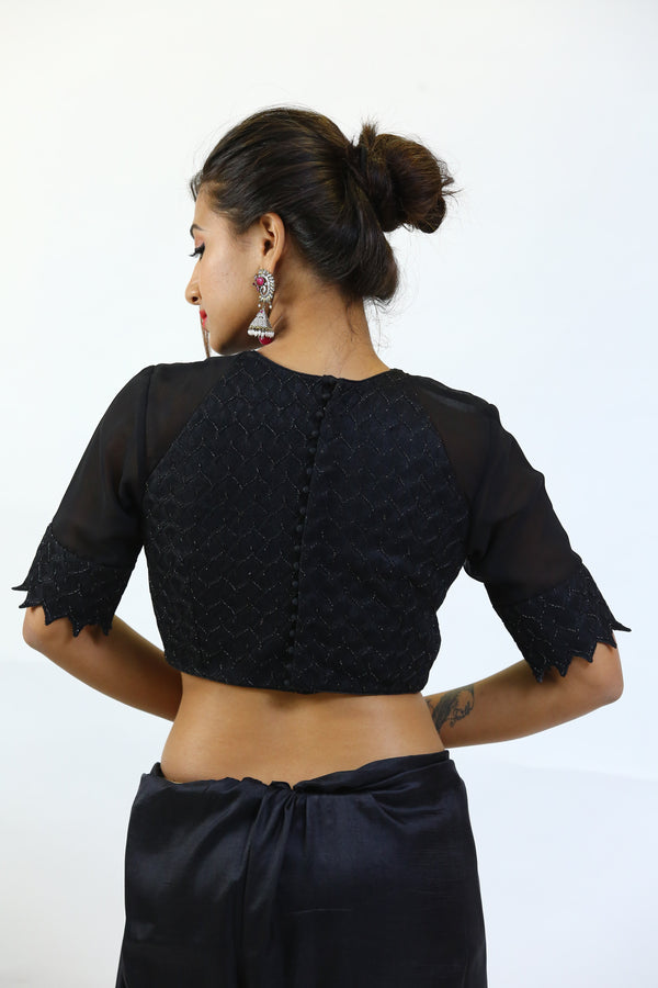 Black  Self Textured High Round Blouse