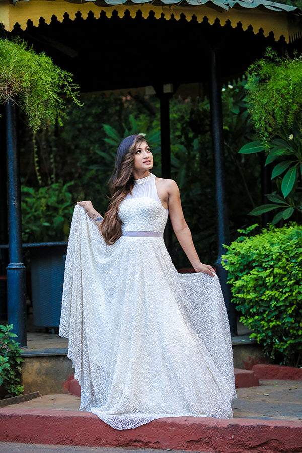 Cream Sequins Gown