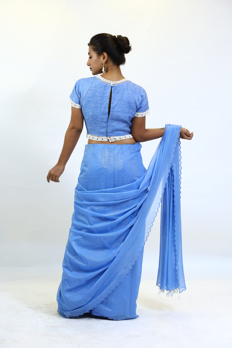 Blue Shimmer Georgette Saree.