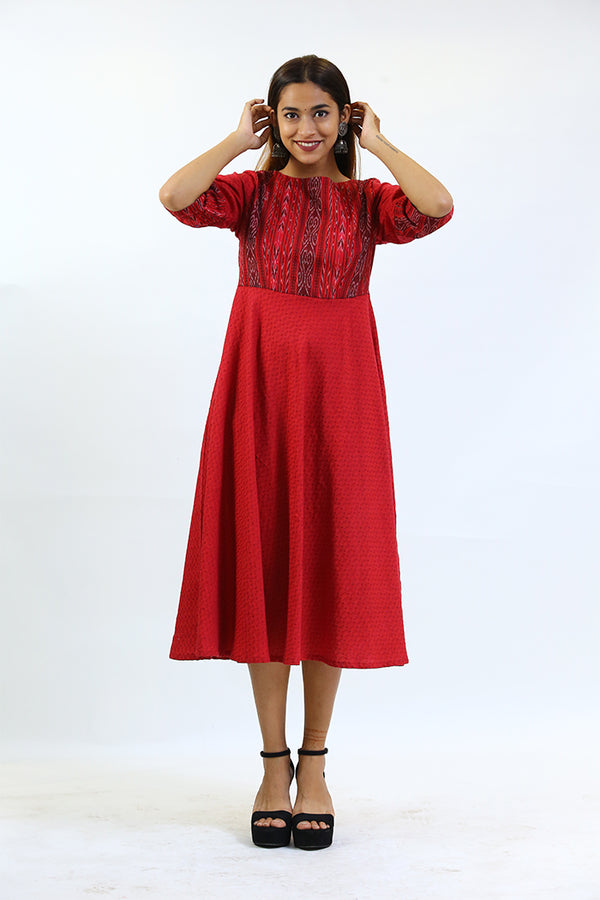 Maroon Dress/Tunic with Ikat Yoke