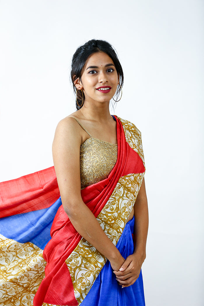 Blue-Red Hand Painted Silk Saree