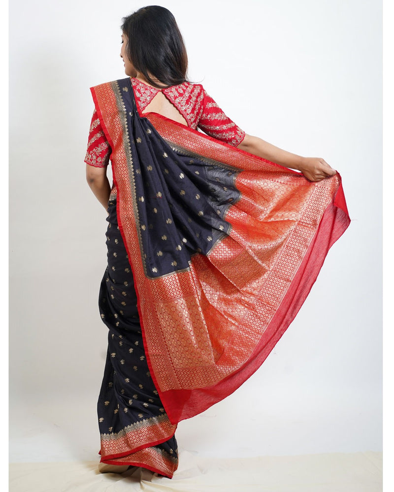 Classic Black Saree With Rust Border