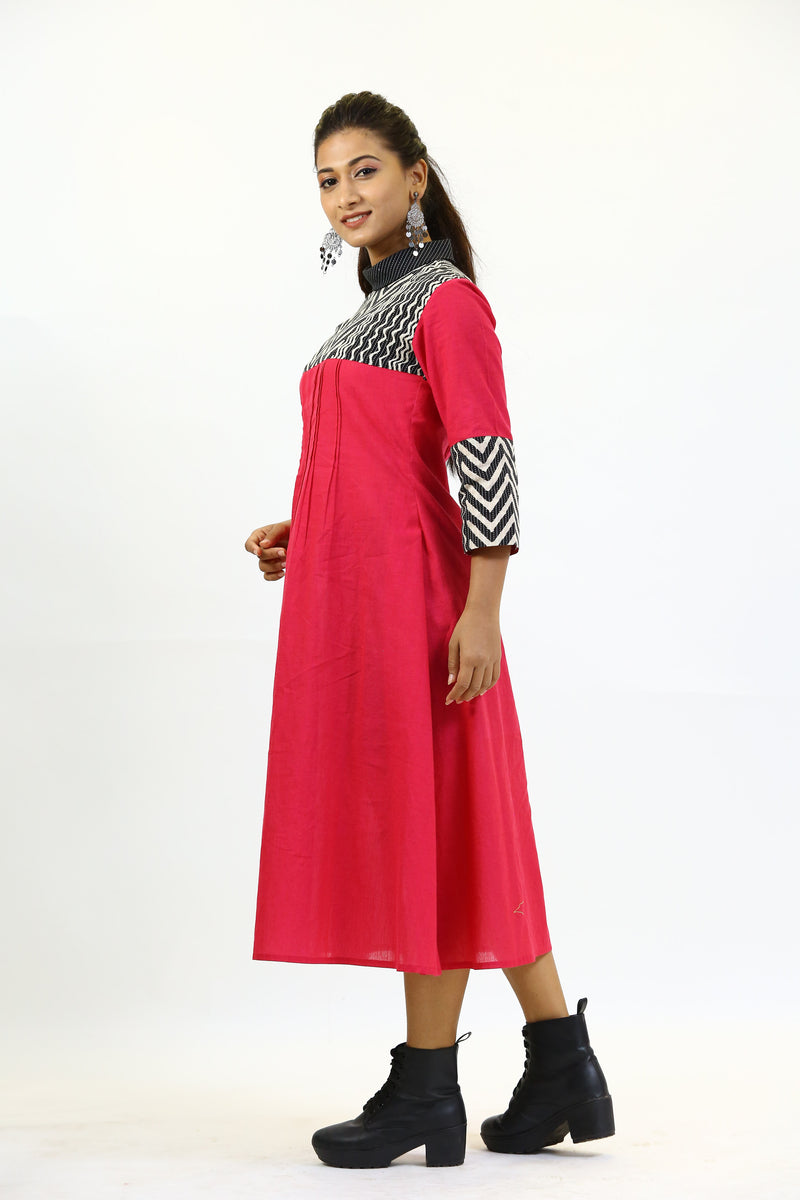 Polo Collar Pink Kurta