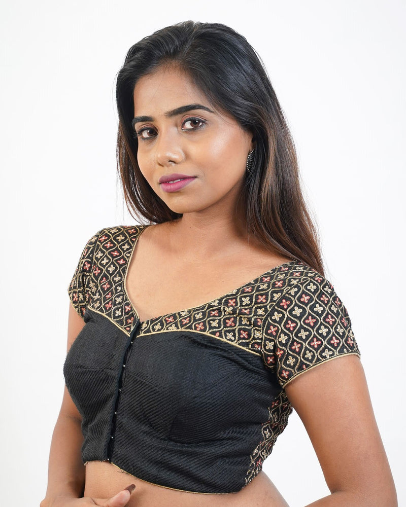 Black Blouse with zari Embroidery