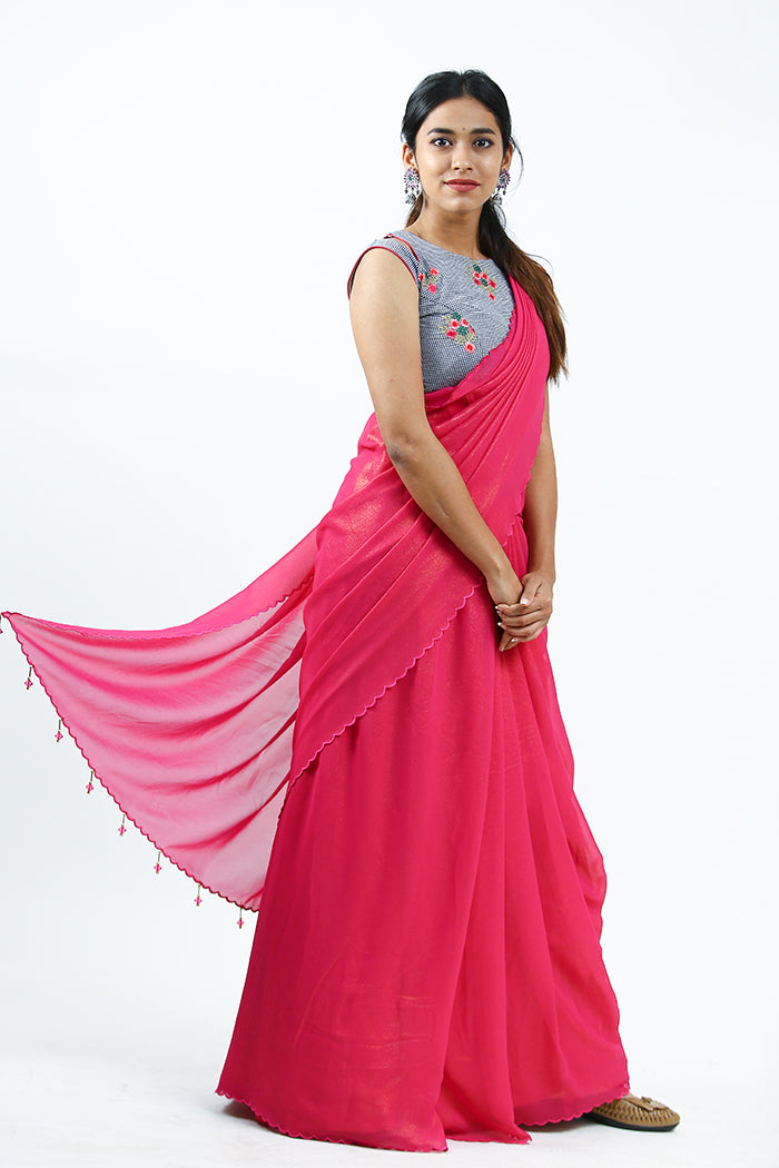 Dark Pink Shimmer Georgette Saree