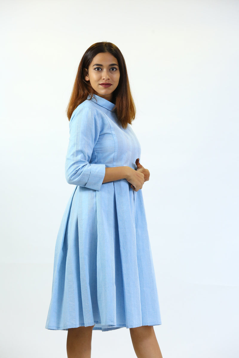 Blue Box Pleated Pollo Collar Dress