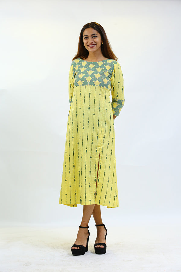 Yellow Dress/Tunic with grey Yoke