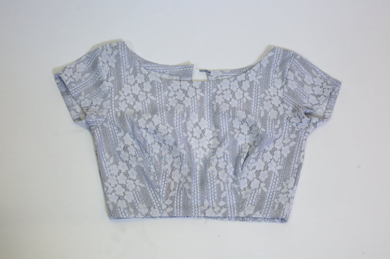 Powder Blue Lace Net Lycra Blouse