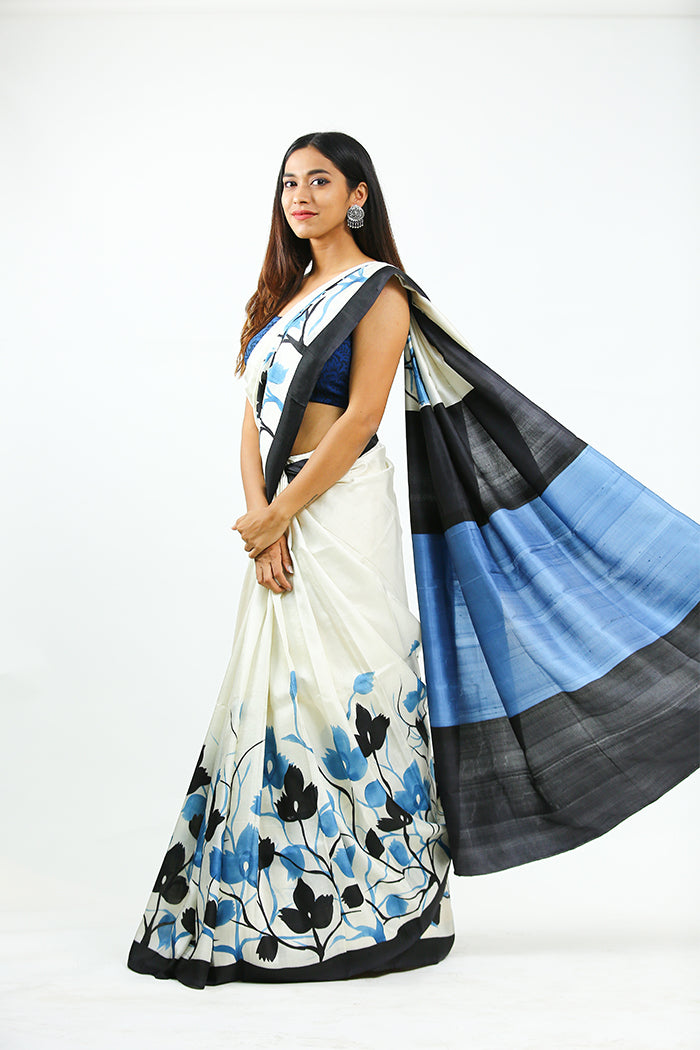 Hand Painted Cream Saree