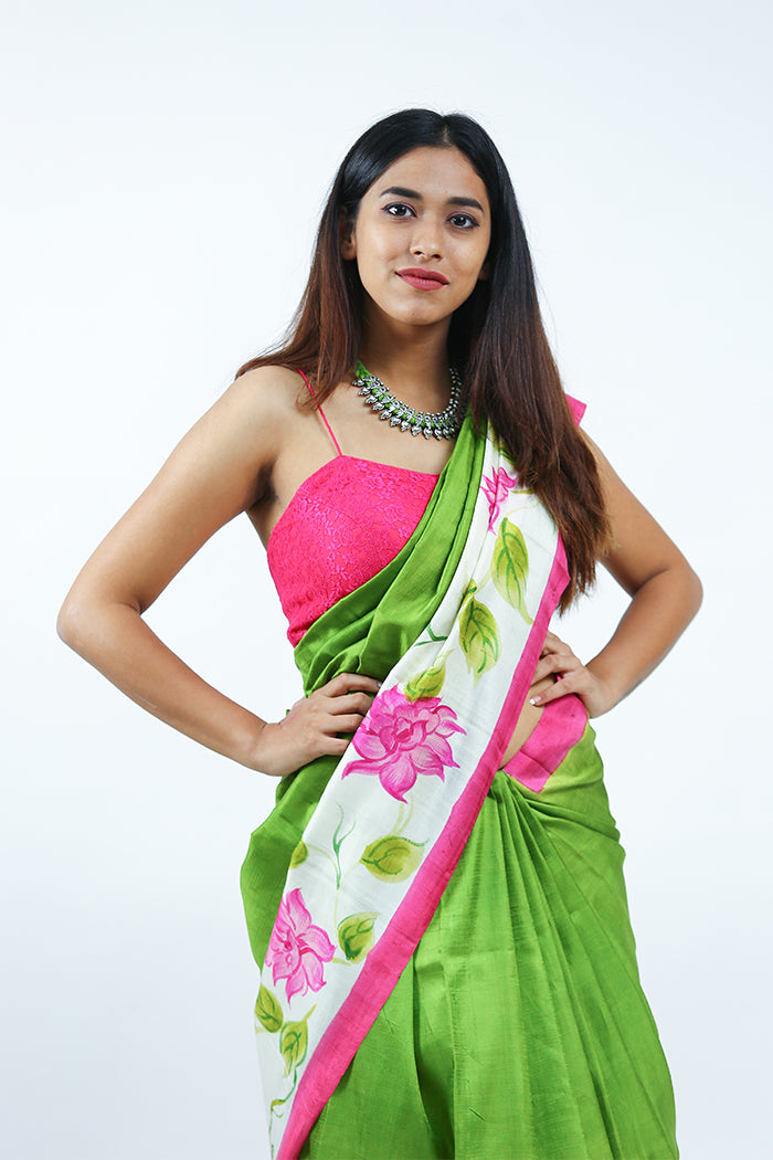 Hand Painted Parrot Green Saree