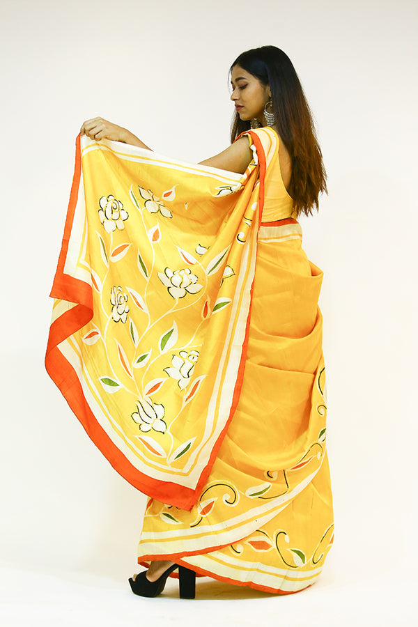 Hand Painted Yellow Saree