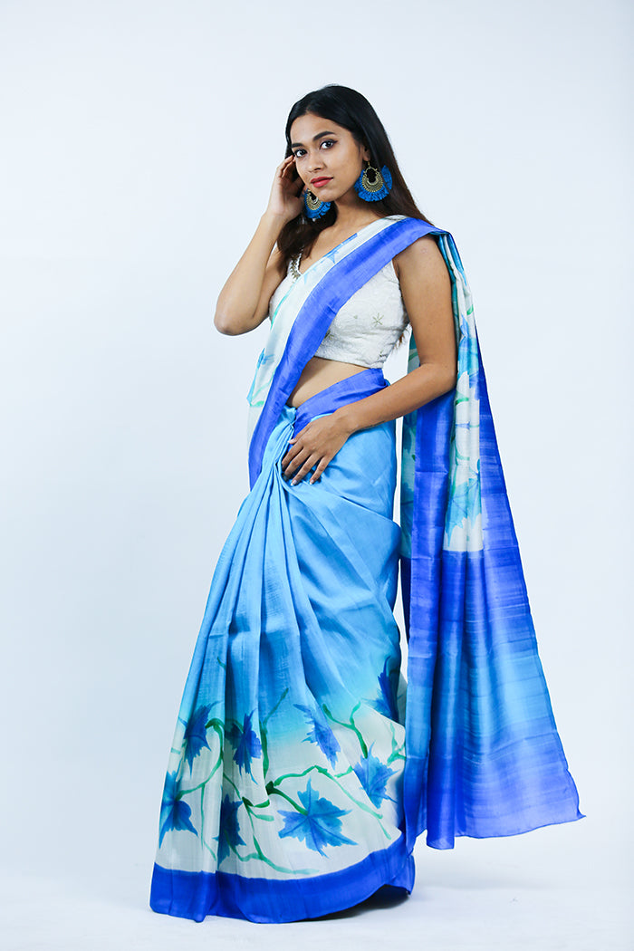 Hand Painted Blue Saree