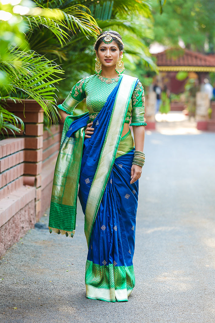 Indigo Blue Banaras Saree with Green brocade Blouse
