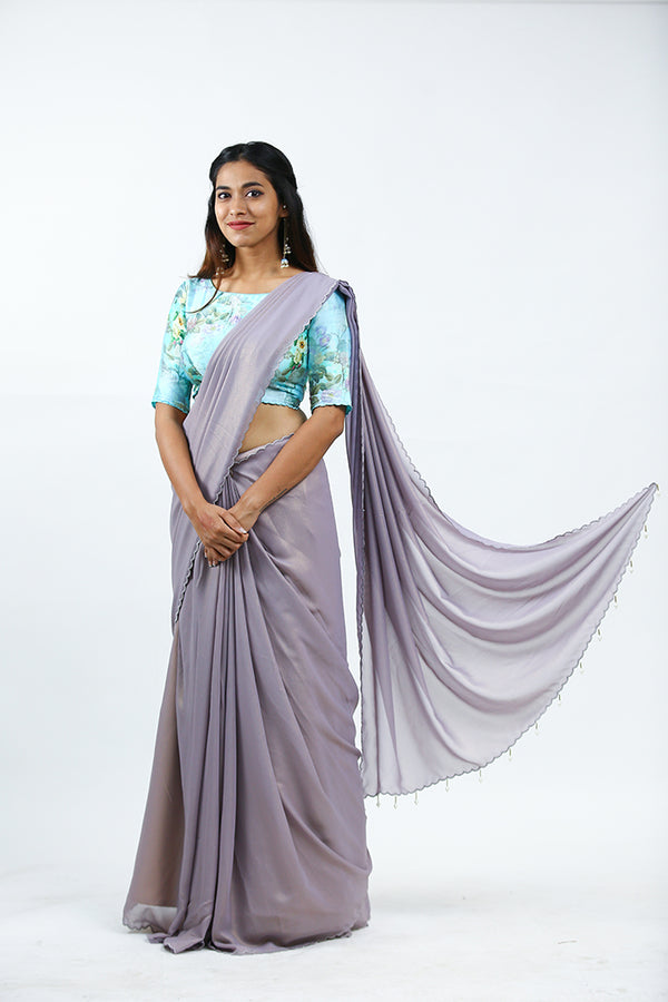 Lilac Shimmer Georgette Saree