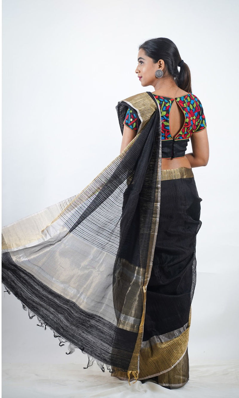 Black Silk Chanderi Saree
