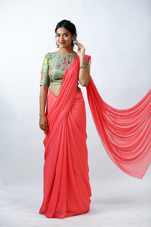 Peach Shimmer Georgette Saree