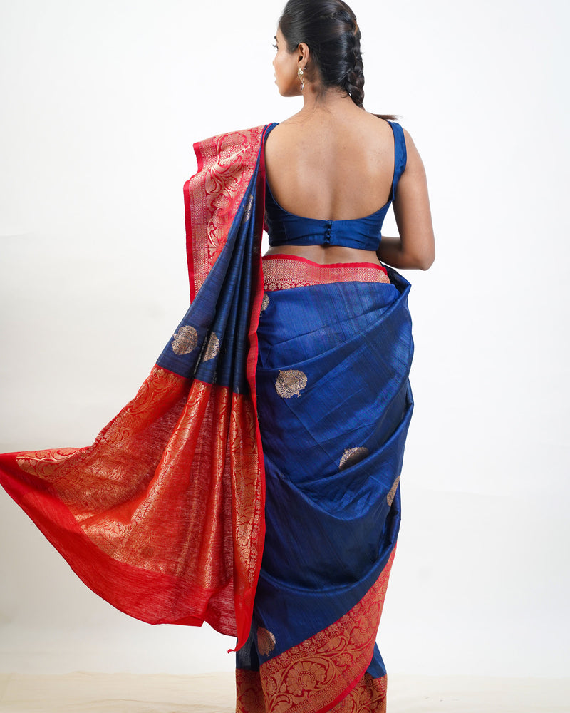 Blue Tussar Saree with Banarasi border